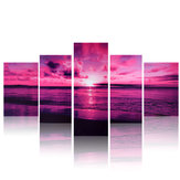 Purple Sea Sunset Modern Frameless HD Canvas Print Home Art Wall Picture Poster Wall Paintings