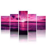 Mar roxo pôr do sol moderno sem moldura HD impressão em tela de arte em casa retrato da parede poster pinturas de parede