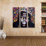 Miico Hand Painted Three Combination Decorative Paintings People Portrait Oil Painting Wall Art For Home Decoration