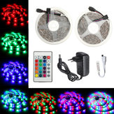 DC12V 2M 3M 5M 10M Non-waterproof RGB 2835 LED Strip Light + 24Keys IR Remote Control + EU Power Supply Plug Full Kit