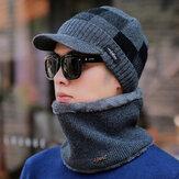 Men's Wool Hat Warm Earmuffs Plus Thickening Knit Scarf Hat