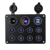 8 Gang Switch Panel 12V-24V Alterna ON OFF Controles Interiores de Tensão USB Car Boat Marine LED Rocker Breaker