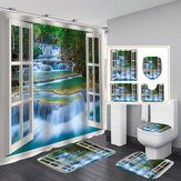 4 PCS Natural Landscape Painting Waterproof Bathroom Shower Curtain Kit Toilet Cover Bath Mat Anti-Slip Rug Sets