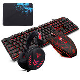 104 Keys Gaming Keyboard Waterproof design USB Wired Multimedia RGB Backlit and LED Gaming Headphone and 3200DPI LED Gaming Mouse Sets with Mouse Pad
