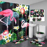 3 PCS Cuarto de baño Juego de alfombras Tapa de inodoro Cortina de ducha Juegos Tejido de poliéster
