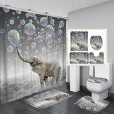 Impresión en 3D Bubbles Elephant Impermeable Cuarto de baño Cortina de ducha Alfombrilla para inodoro Alfombrilla antideslizante Alfombra Set