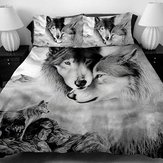 3 PCS Bedding Sets 3D Animal Wolf Head Printing Quilt Cover Pillowcase For Full Size