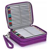 78 Yuvaları Renkli Kalem Kılıf Büyük Kapasiteli Soft ve PU Deri Kalem Tutucu Düzenleyici Taşıma Kolu ile Dahil Değil Kalemler