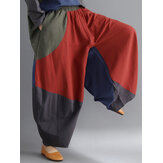 Contrast Color Patchwork Loose Elastic Waist Harem Pants
