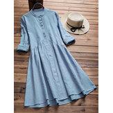 Kadınlar Vintage Tunik Retro Etnik Midi Gömlek Elbise