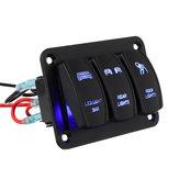 3 Gang LED Lamba Devre Rocker Anahtarı Paneli Araba Bot DC12V-24V için Mavi Işık