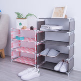 5 Layers Non-woven Shoe Rack Large Size Living Room Fabric Dustproof Cabinet Organizer Holder DIY Foldable Stand Shoes Shelf Bookshelf