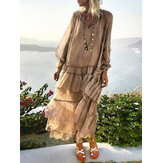 Women Loose Lace Up Long Dress See Through Pleated Ruffle Shirt Dress