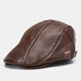 Collrown Men's PU Leather Beret Caps Casual Newsboy Cap Artificial Leather Warm Hats