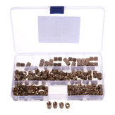 Suleve M6BN1 140Pcs M6 Knurled Brass Round Female Thread Knurled Nuts Round Insert Embedment Nut Assortment Set