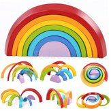 KINGSO Wooden Rainbow Toys 7Pcs Rainbow Stacker Educational Learning Toy Puzzles Colorful Building Blocks for Kids Baby Toddlers