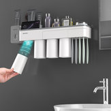 Mutifunctional Magnetic Toothbrush Holder with Toothpaste Squeezer Cups Bathroom Storage Rack Nail Free Mount