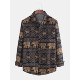 Mens Ethnic Animal Printing Plus Größe Langarmshirts