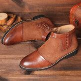 Kryddor Läder Slip Resistant Zipper Casual Ankelstövlar