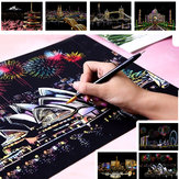 Magic Scratch Sketch Pad Wooden Drawing Shiny Stick Art Painting Paper and Board