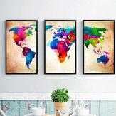 Miico pintado a mano tres pinturas decorativas combinadas Colorful Mapa del mundo Arte de la pared para la decoración del hogar