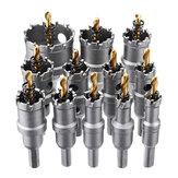 Drillpro 12pcs 15mm-50mm Upgrade M35 Cortador de sierra de orificio recubierto de titanio para aleación de aluminio de acero inoxidable