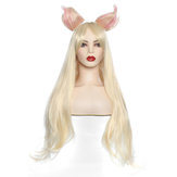 Cosplay Wig Long Straight Blonde Gold Hair Ears Women Anime