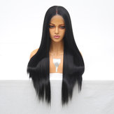 Women Long Wig Full Frontal Lace Black Hair Micro Twists Full Density Gradient