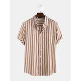 Męskie koszule z krótkim rękawem i kieszenią w paski
