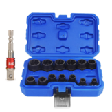 Drillpro 14Pcs Impact Damaged Bolt Nut Remover Extractor Socket Tool Set with Socket Nut Adapter Bolt Nut Screw Removal Socket Wrench