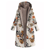 Leaves Print Long Sleeve Hooded Fleece Maxi Coats