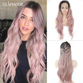 24 Inch T Pink Wig Front Lace Chemical Fiber Wig ladies high