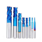Drillpro 8 Stks Blauw Naco 2-12mm 4 Fluiten Carbide Frees Set HRC50 Wolfraamstaal Freesgereedschap