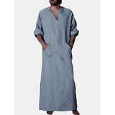 INCERUN Vintage Loose Comfy Cotton Kaftan Tops Plue Size Long Robe Loungewear Tunics for Men