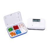 LCD Digital Timer Pill Box 5 Alarms Electric Clock Reminder Pill Case