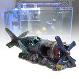 ZANLURE Grand Avion Épave Fish Tank Décoration Résine Décorations Aquarium