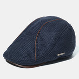 Men's Knit Hat Padded Warm Beret Caps Casual Outdoor Visor Forward Hat
