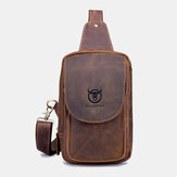 Men Genuine Leather Vintage Crossbody Bag Chest Bag