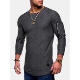 Irregular Hem Zipper Casual Camisetas