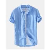 Mens Fashion New Solid Color Basic Short Sleeved Linen Shirt