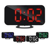 Digital LED Espelho Alarme de exibição grande Relógio Função Snooze Dual USB Charger