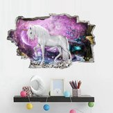 3D Horse Wall Sticker Starry Sky Sticker Wall Decal Art Stickers Kids Girls Bedroom Nursery Home Decoration Simple