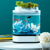 Geometry Mini Lazy Fish Tank USB Charging Self-cleaning Aquarium with 7 Colors LED Light