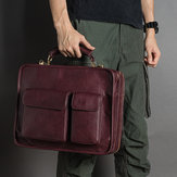 Hommes Vintage Faux Leather Luxurious Handbag Sac Messenger