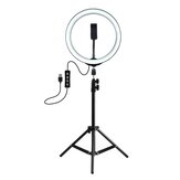 PULUZ PKT3035 10 Zoll USB Video Ringlicht mit 110cm Lichtstativ Dual Phone Clip für Tik Tok Youtube Live Streaming