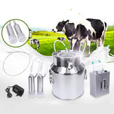 14L Upgraded Double Head Milking Machine Vacuum Impulse Pump Cow Goat Milker