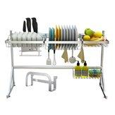 Utensílios de 2 camadas de aço inoxidável Rack de secagem de pratos sobre pia Escorredor Prateleira de armazenamento de cozinha