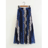 Elegant Patchwork Color Lace A-Line Skirts