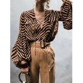 Chemise à manches longues imprimée à rayures pour femmes Casual Blouse ample