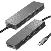 YC750 HDMI 4K USB 3.0 Type-C HUB with TF Memory Card Reader PD Slot for Laptop